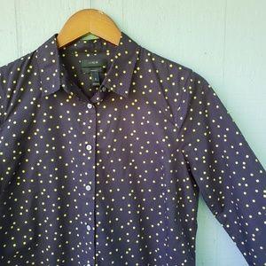 J Crew Polka Dot Perfect Shirt NWT Black Gold Sz 8